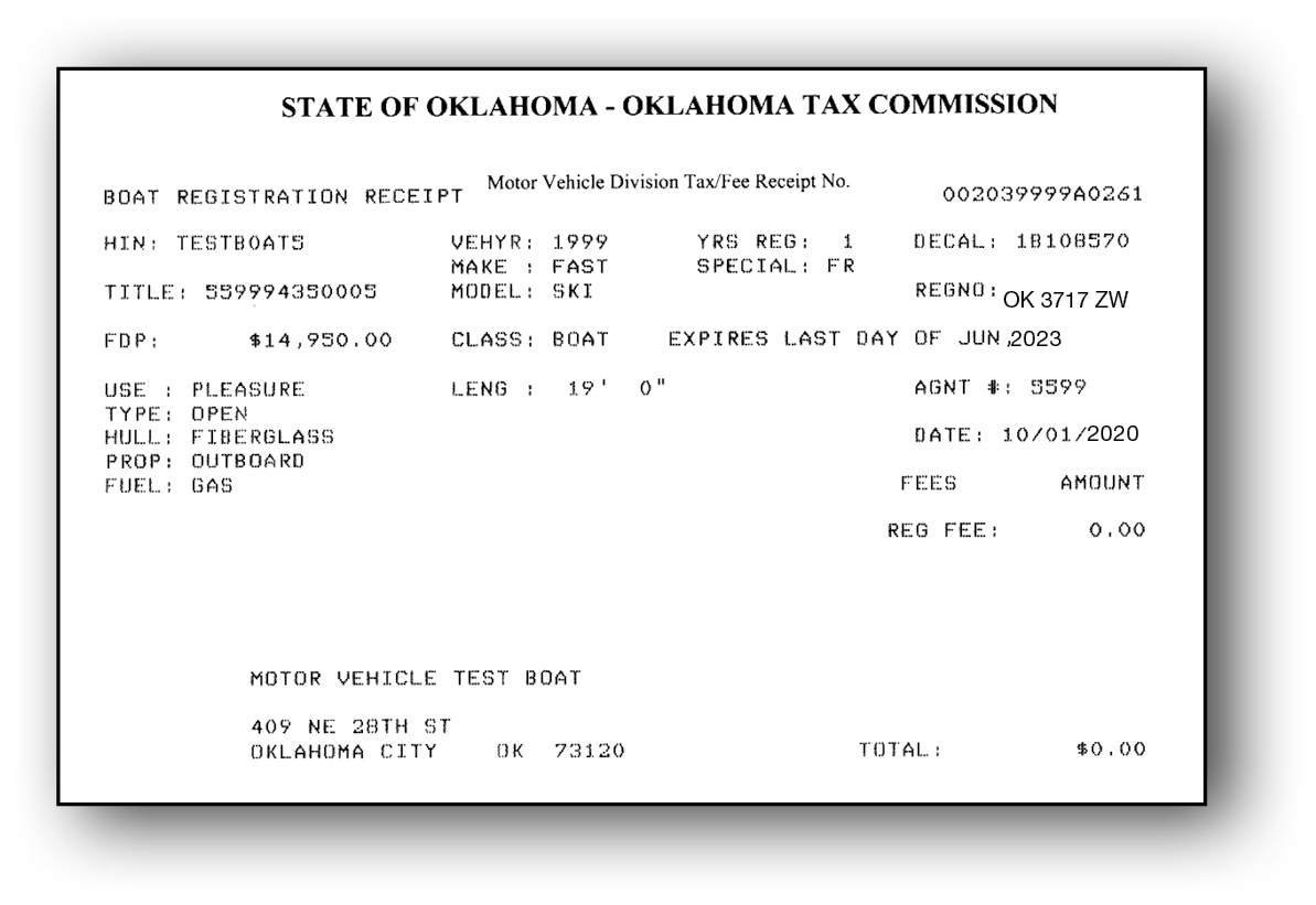 Oklahoma Certificate of Registration