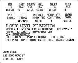 Certificate Of Registration Card Fl Boat
