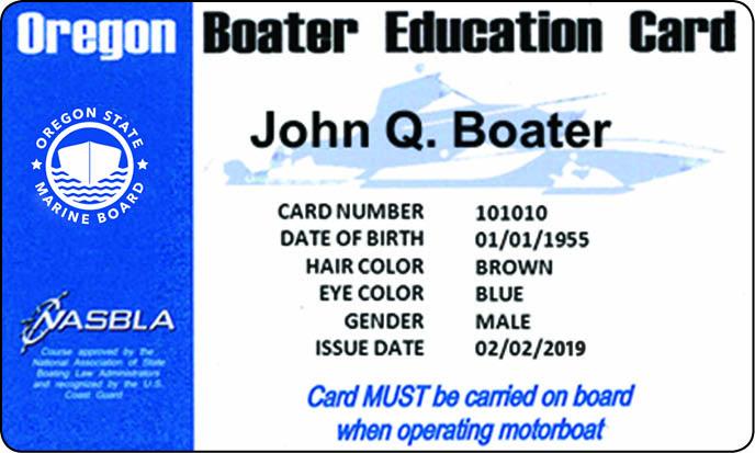 Oregon Boater Education Card