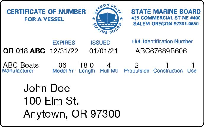 Oregon Certificate of Number