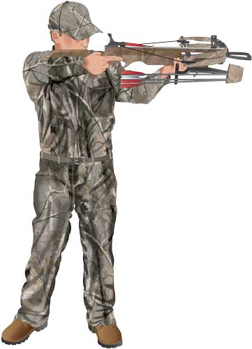 Hunter sighting in a crossbow