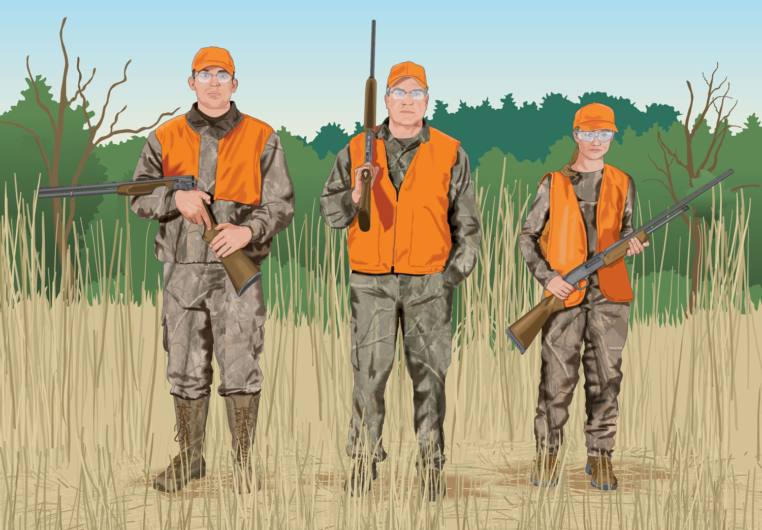 Hunters carrying firearms side-by-side
