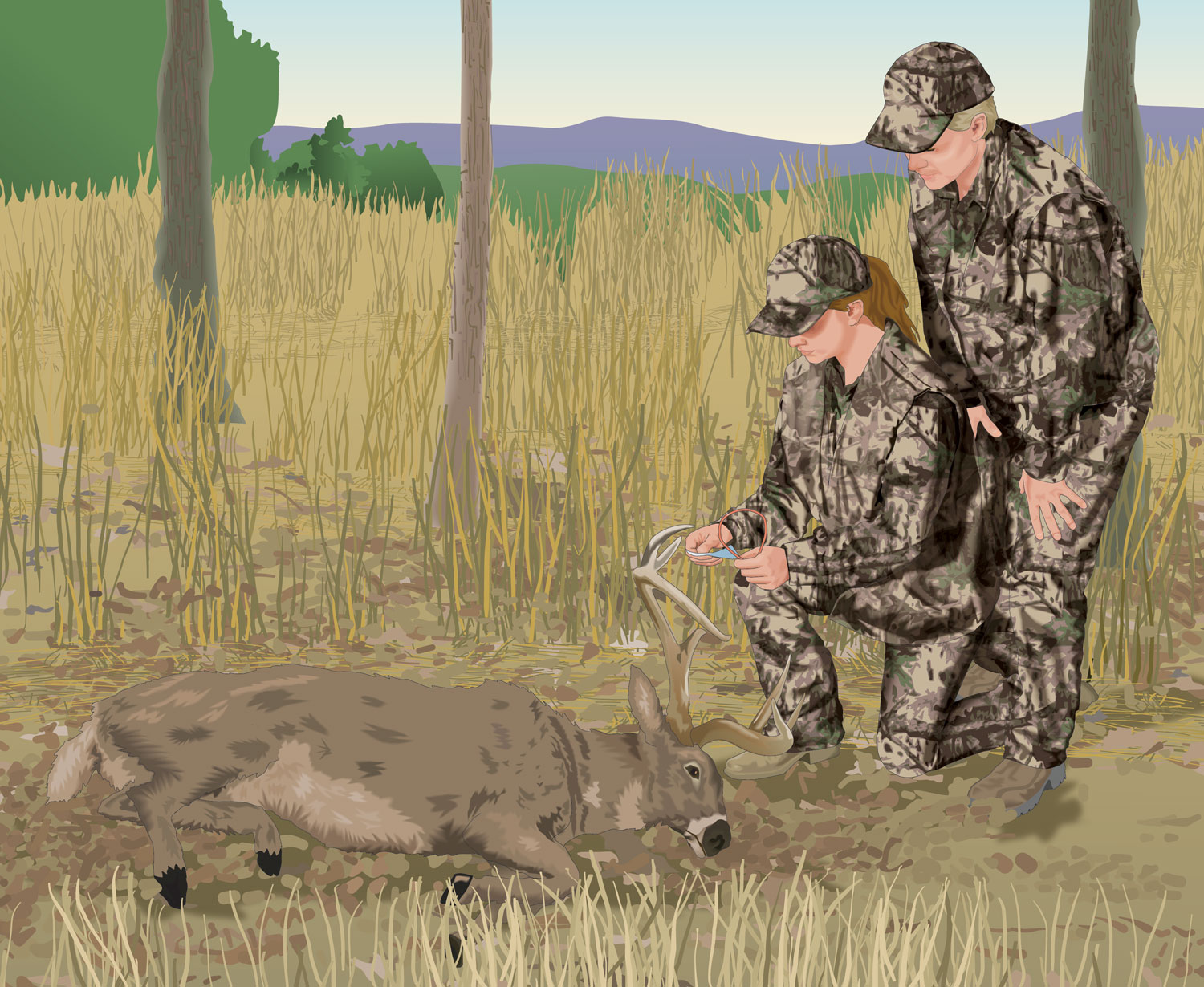 Two hunters investigating a downed deer