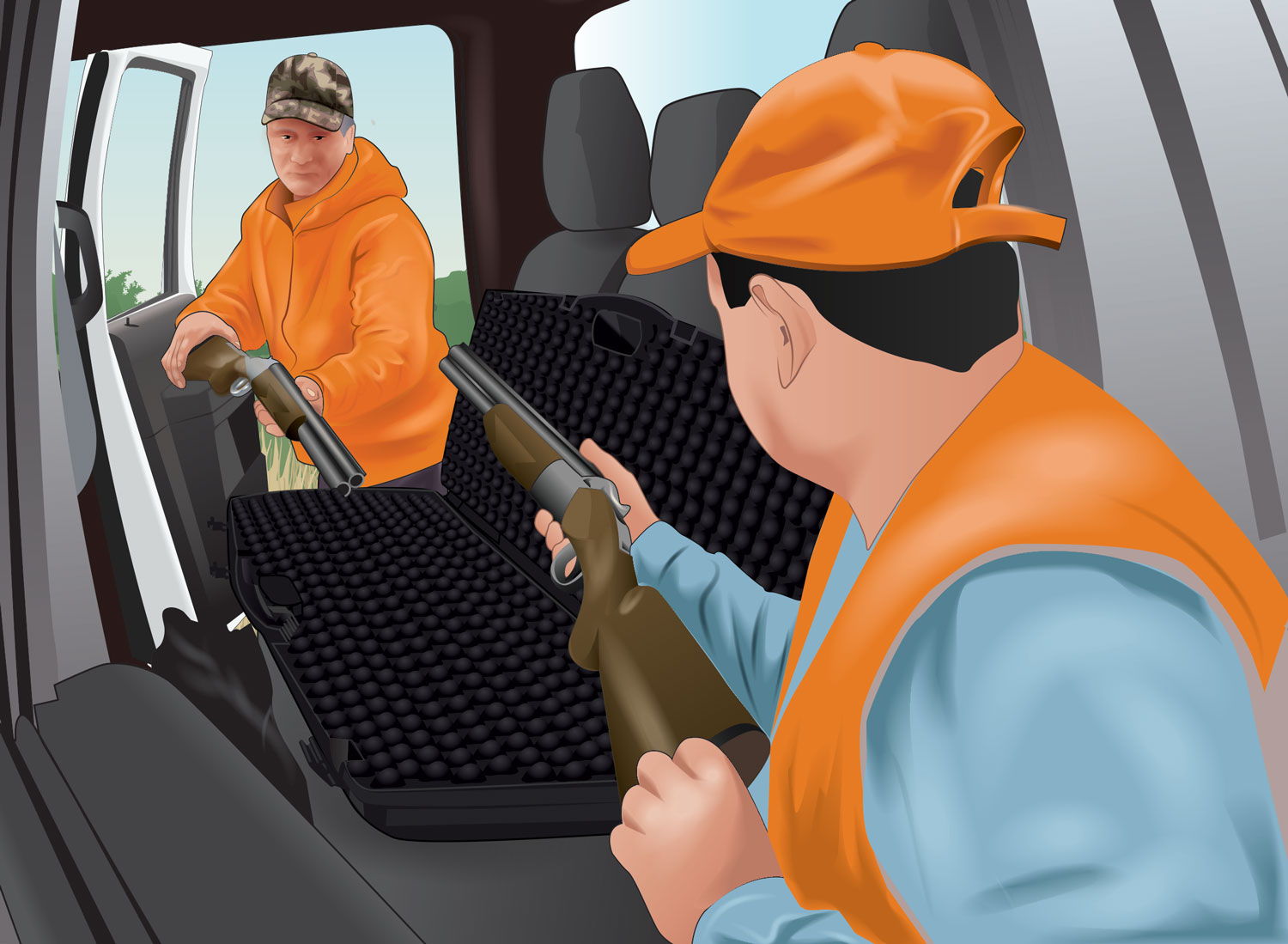 Two hunters unsafely pointing the muzzles of their firearms at each other while putting them in the vehicle