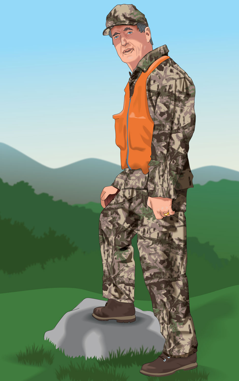 Hunter wearing camo and a blaze orange vest
