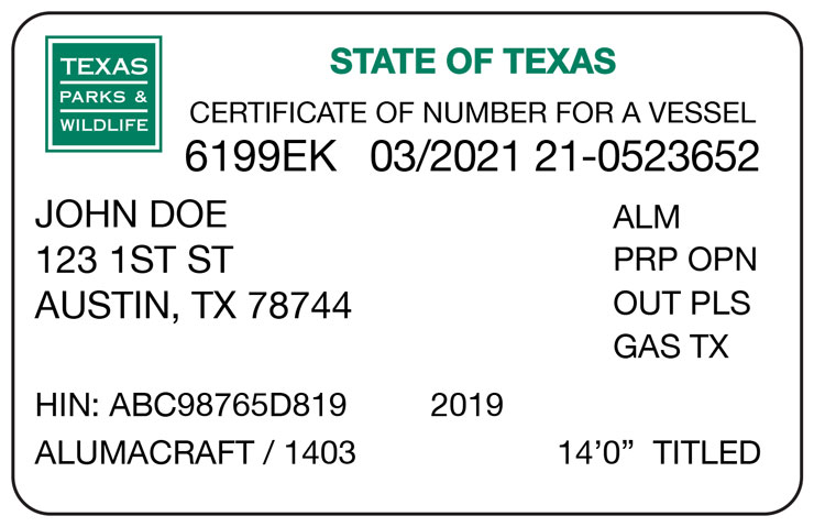 Texas Certificate of Number Card