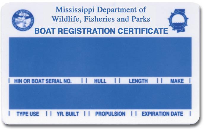 Mississippi Boat Registration Certificate