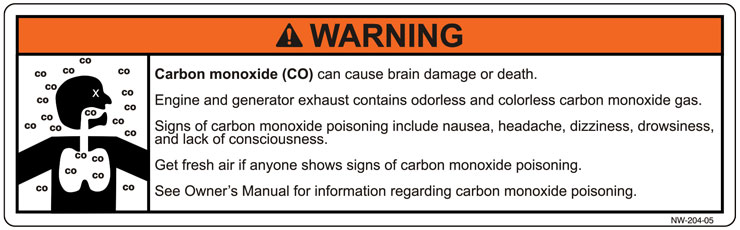 Washington Carbon Monoxide Warning Decal