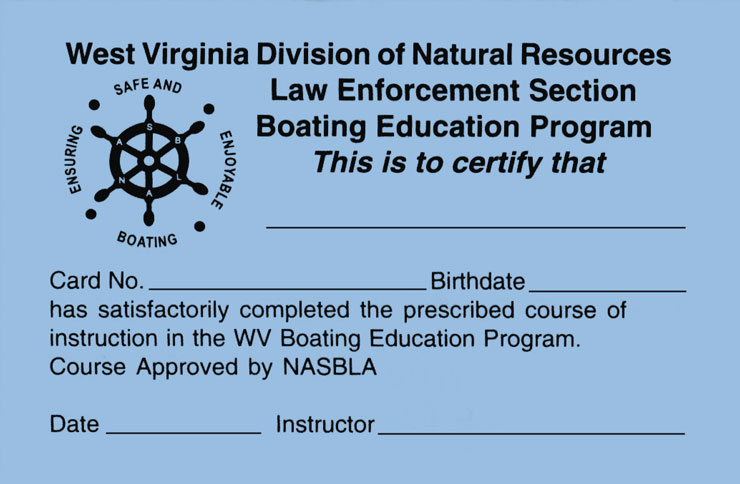 West Virginia Boating Education Card