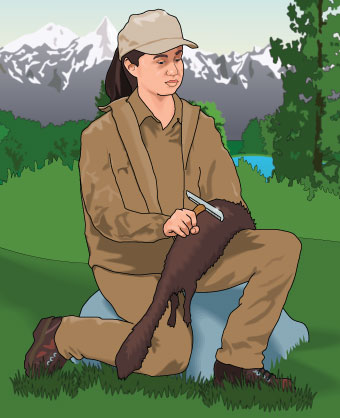 Trapper with an animal draped across her leg