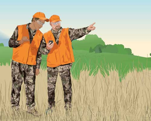 Two hunters use their GPS.