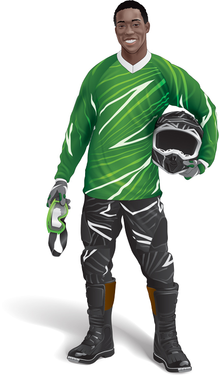 Male ATV rider wearing protective clothing