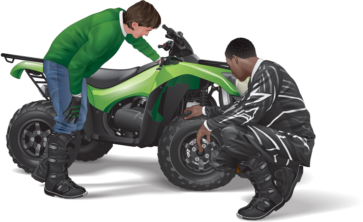 Two riders inspect an ATV's tires