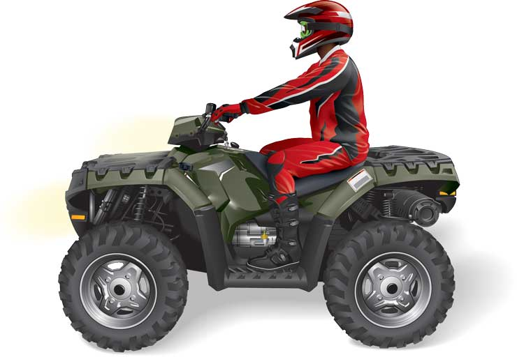 Sitting position when riding an ATV