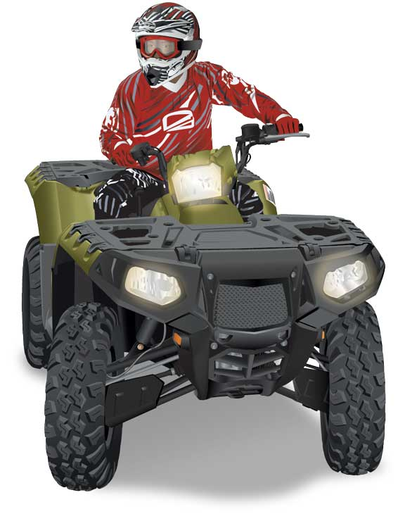 ATV making a right hand turn