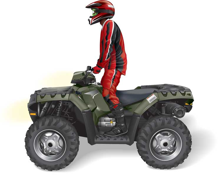 Standing position when riding an ATV