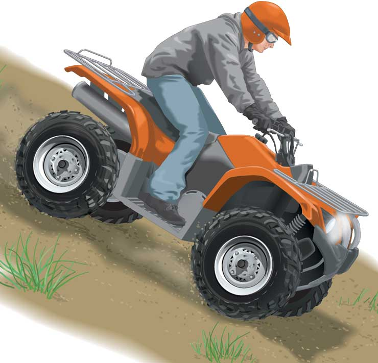Riding an ATV downhill