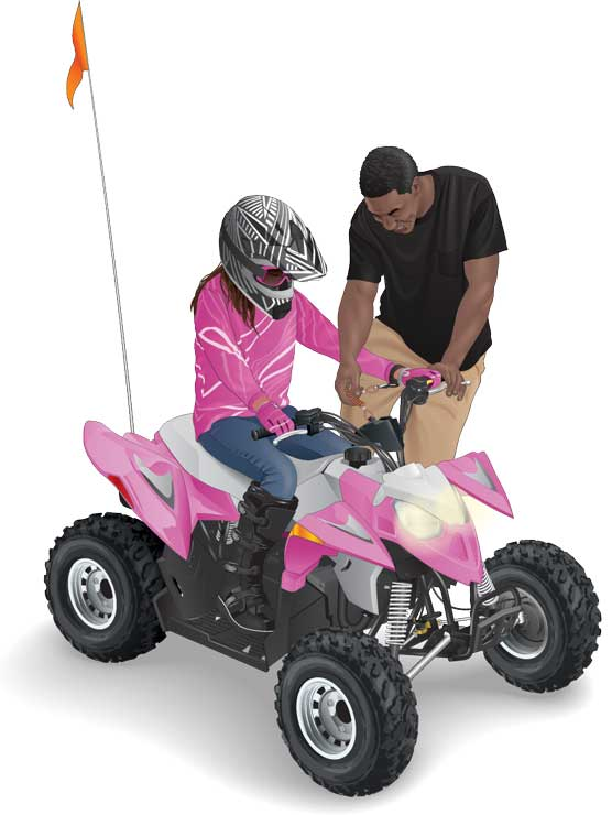 Parent instructing child how to operate an ATV