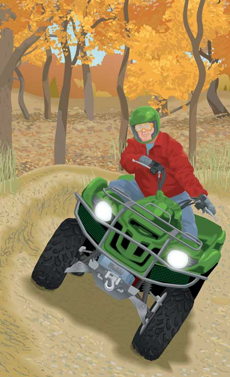 Traversing a slope on an ATV