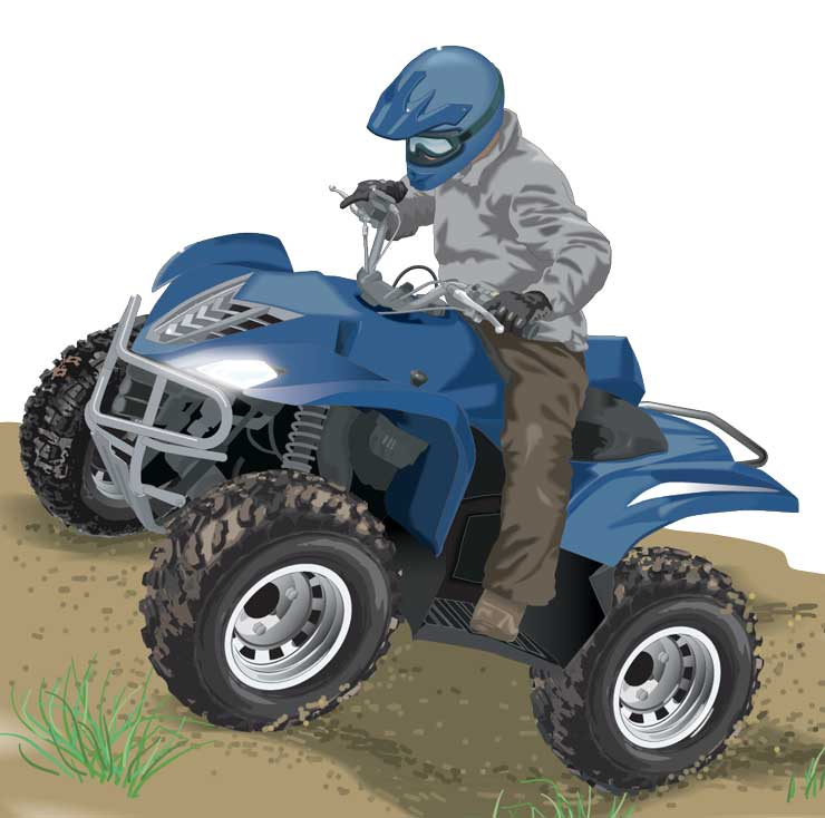 Riding an ATV uphill
