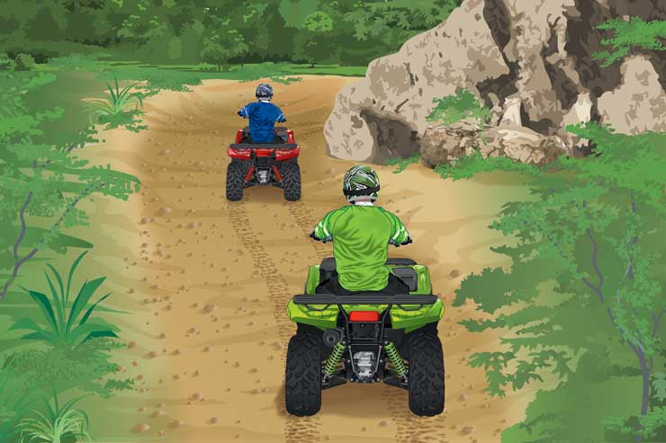 ATVs riding toward creek