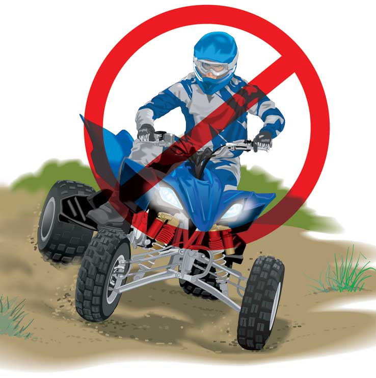 ATV making sharp right hand turn overlaid with general prohibition sign