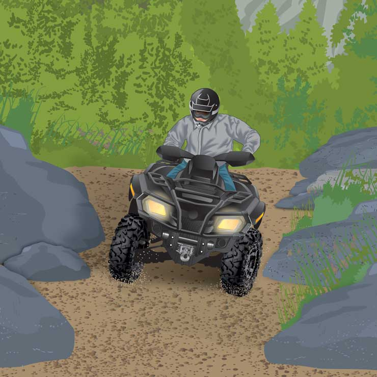 Intermediate ATV rider on a slope