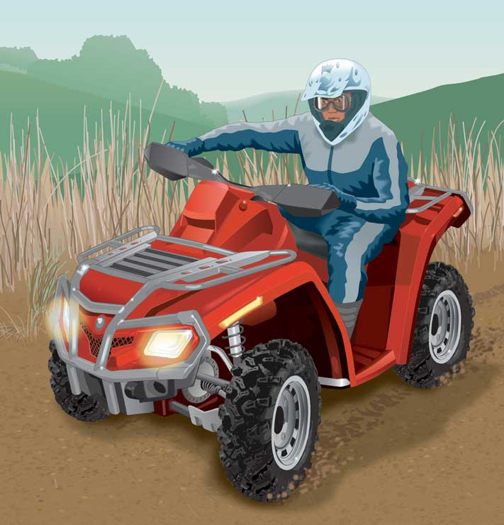 ATV rider making a high-speed turn