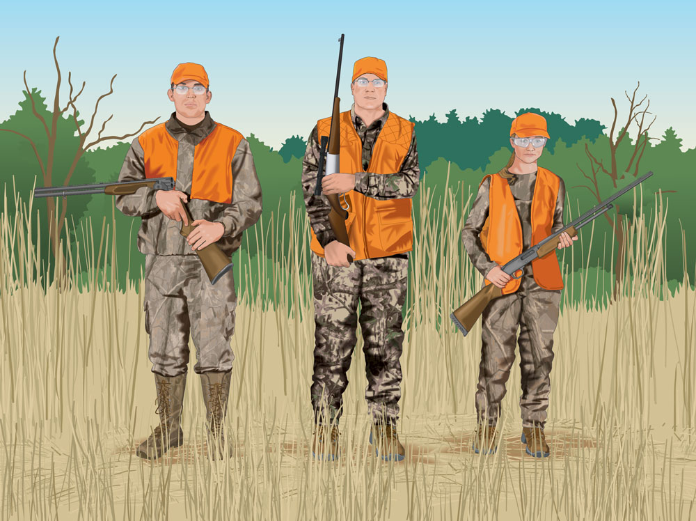 Proper Field Carries: Three Hunters, Side by Side