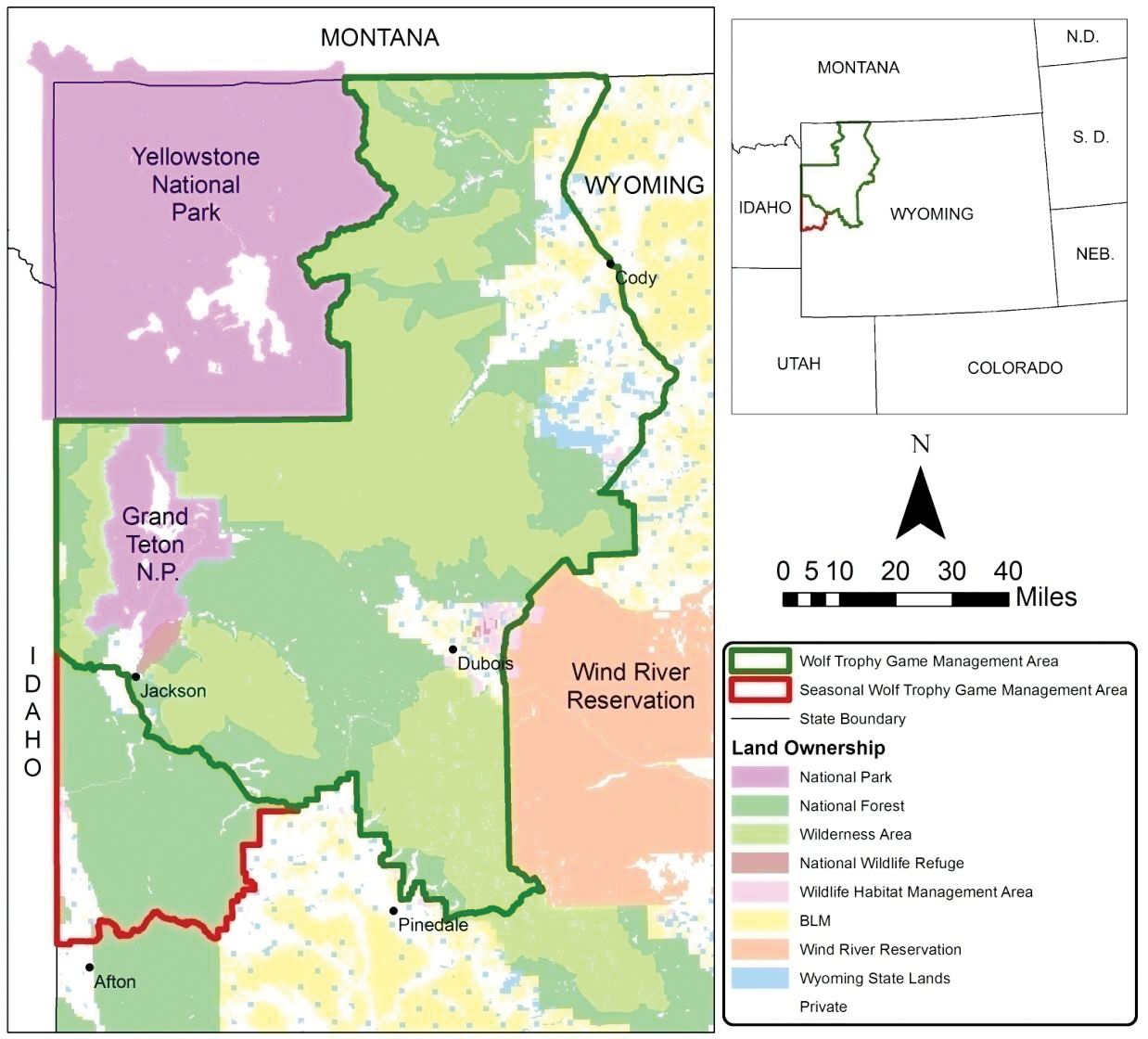 Gray Wolf Game Management Areas in Wyoming