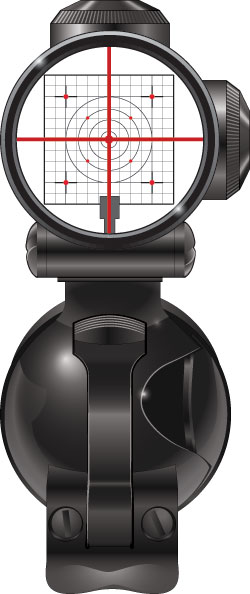 Telescopic sight with crosshair reticle