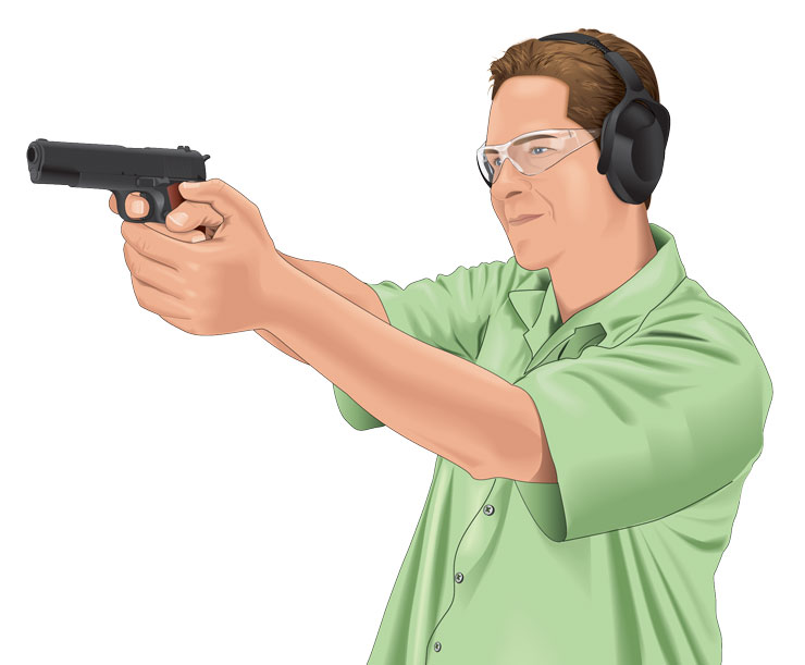 Controlling breathing while shooting a handgun