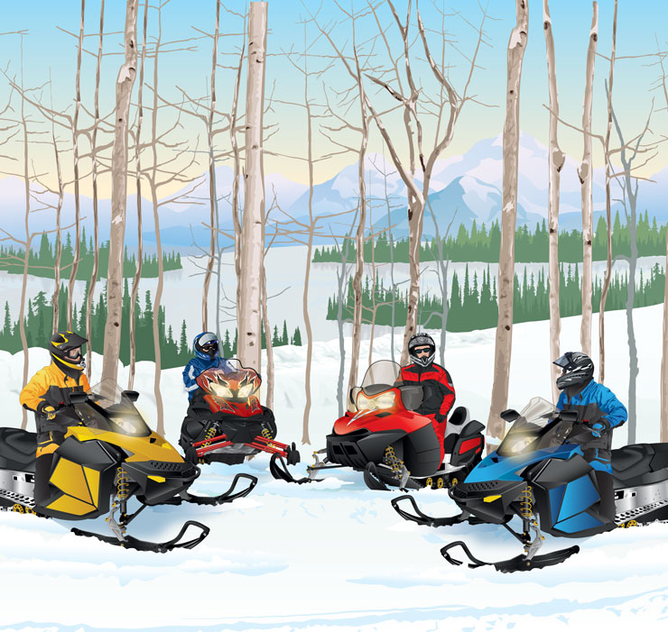 Four snowmobilers in a group