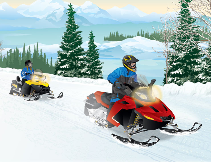 Two snowmobilers riding in a group