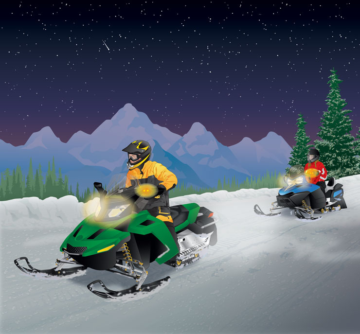 Snowmobilers signaling others with a Communication Safety System (CSS)