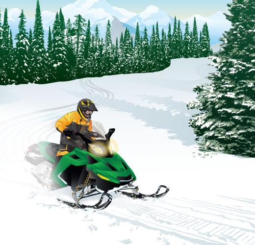 Rider on snowmobile