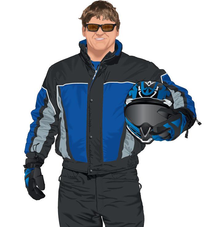 Snowmobile rider holding helmet