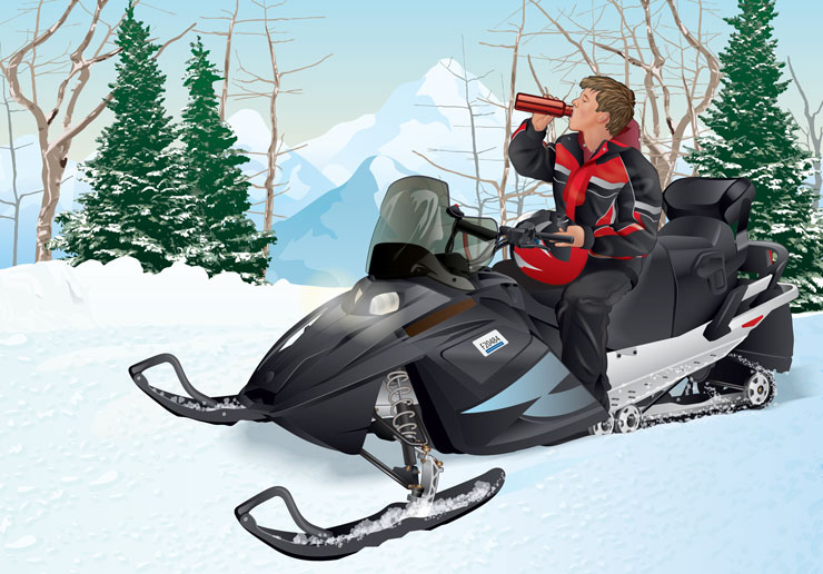 Snowmobiler drinking water