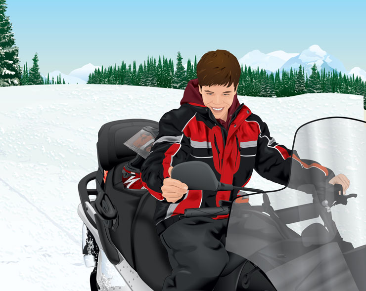 Snowmobiler adjusting mirror