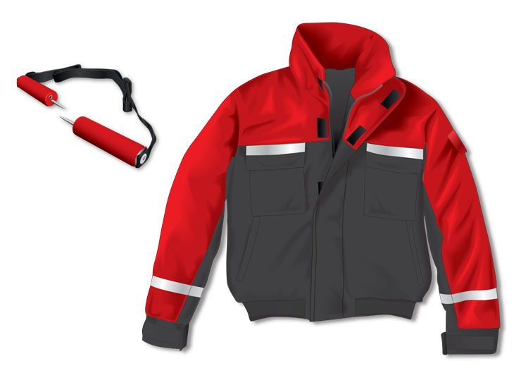 Snowmobile frozen water gear—Jacket and ice pick
