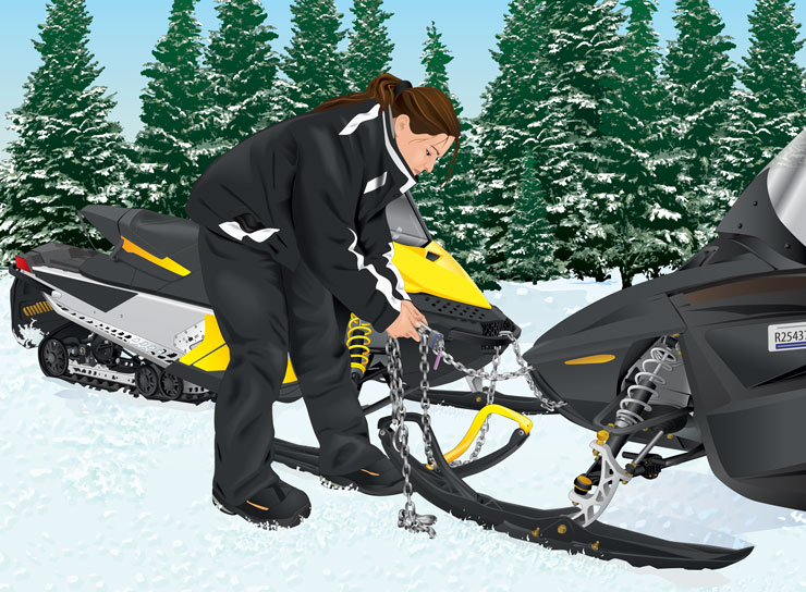 Snowmobiler locking the snowmobile