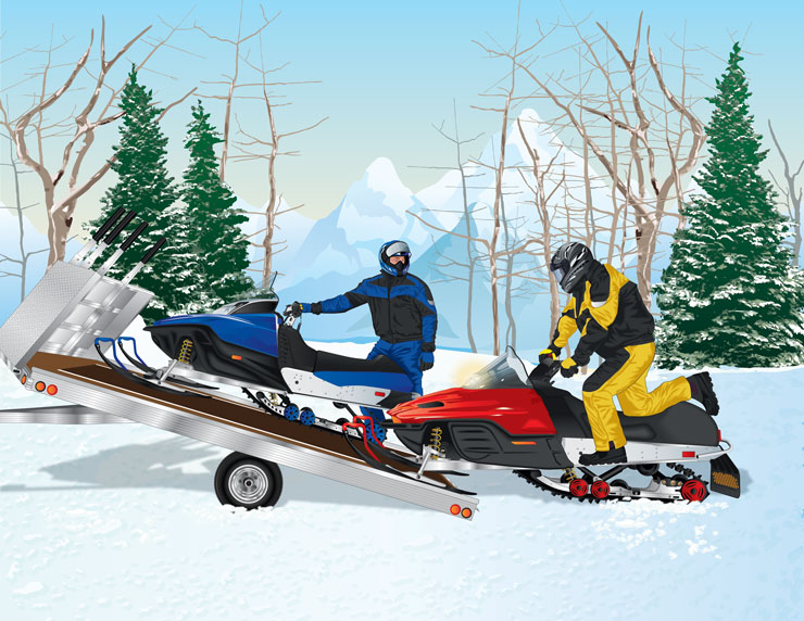 Snowmobilers towing snowmobile