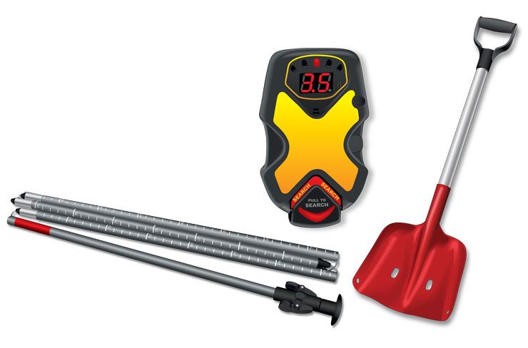 Snowmobile avalanche gear—shovel, avalanche probes, and transceiver (beeper)