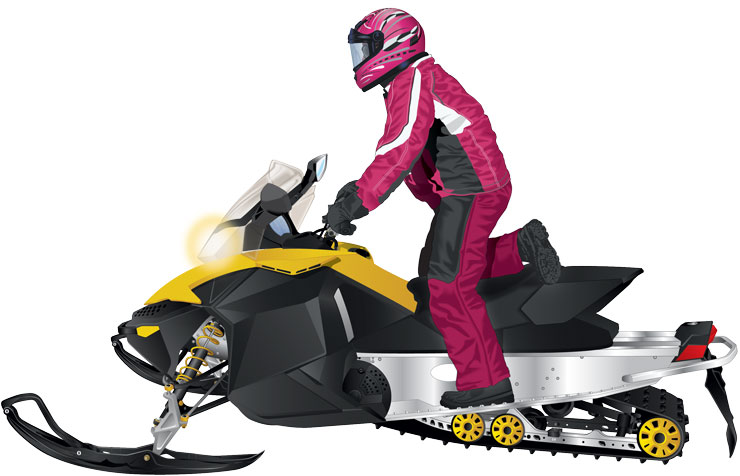 Snowmobiler in a kneeling position on a snowmobile