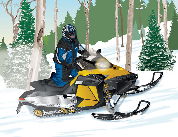 Snowmobile riding uphill