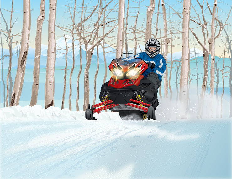 Snowmobile riding over hill