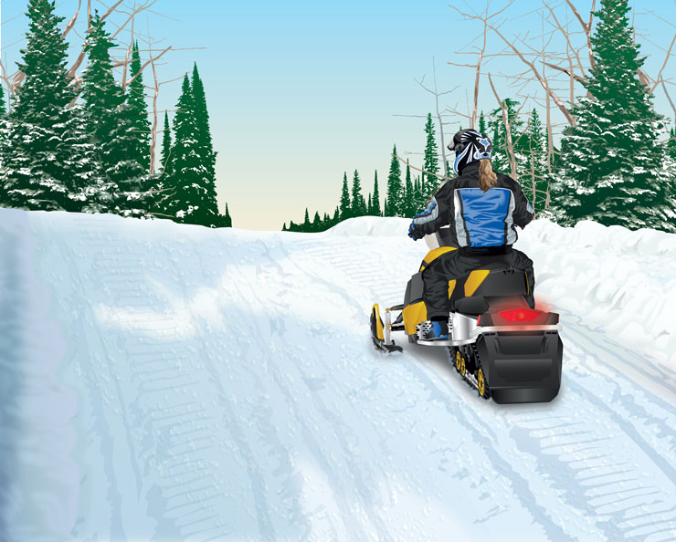 Snowmobile on right side of trail