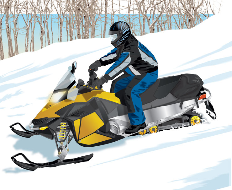 Snowmobile riding downhill