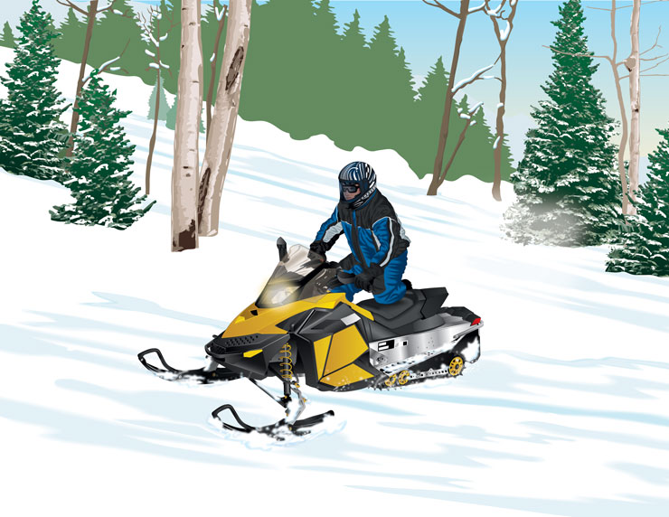 Snowmobile traversing a hill