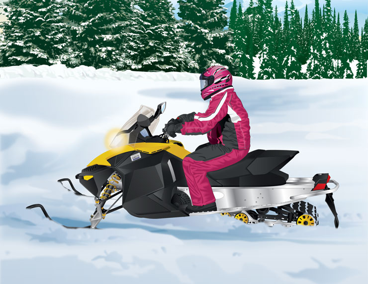Snowmobile on loosely packed snow